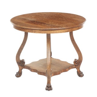1900 Late Victorian Oak Center Table For Sale