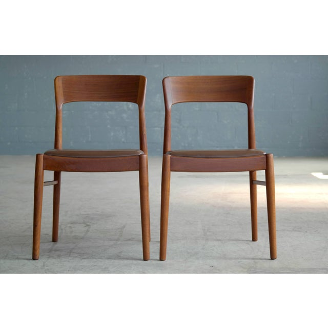 Fantastic set of six dining chairs teak with leather seats designed in the 1960s by Kai Kristiansen for K.S. Mobler of...