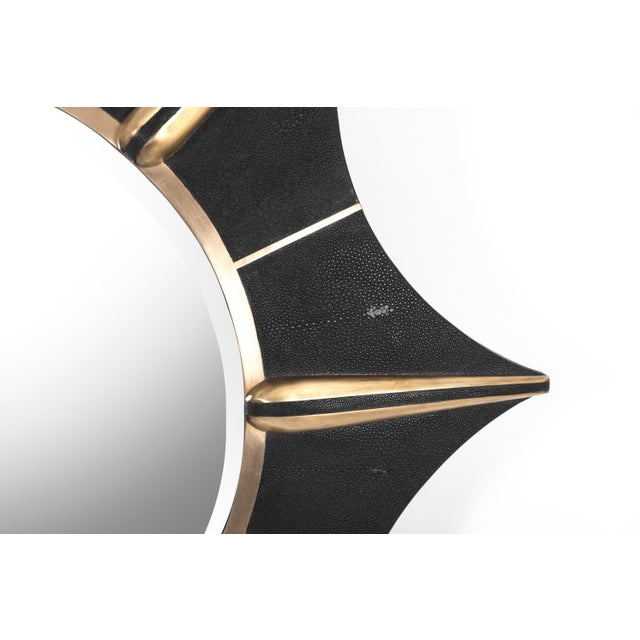 R & Y Augousti Star Mirror in Black Shagreen and Bronze-Patina Brass by R & Y Augousti For Sale - Image 4 of 5