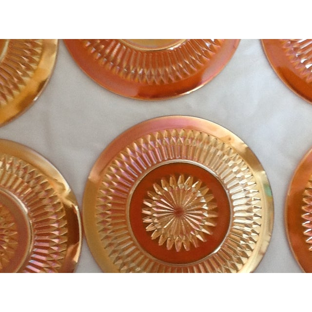 Marigold Iridized Carnival Glass Plates - Set of 6 For Sale - Image 5 of 6