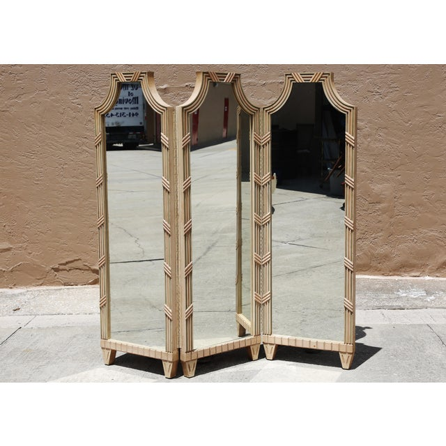 Gold Vintage Large Mirrored Pagoda Screen / Room Divider / Would Be Cool Headboard For Sale - Image 8 of 9