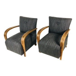 Art Deco Inspired Bentwood Club Chairs – a Pair For Sale