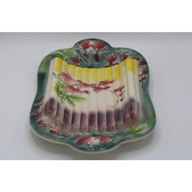Blue French Country Majolica Asparagus Platter For Sale - Image 8 of 13