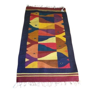 Vintage Mid Century Hand Woven Abstract Fish Wall Textile Art Hanging Rug - 2′5″ × 4′10″ For Sale