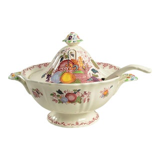 Vintage Mason's Fruit Basket Red Multicolor Tureen & Lid With Ladle For Sale