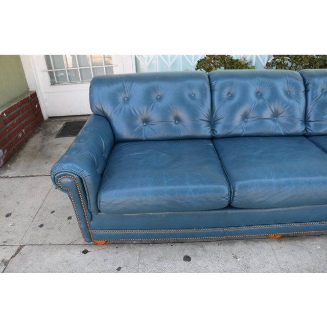 Teal Leather Sofa - Image 3 of 11