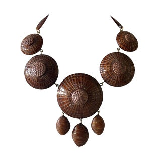 """Contemporary Brown French Architectural Statement Necklace """"Collier"""" For Sale"""