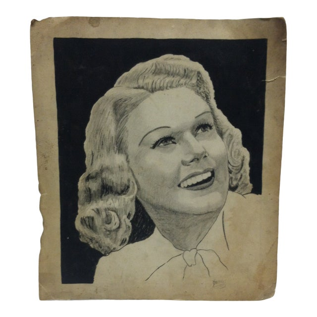 """Vintage Original Drawing on Paper, """"Pretty Smile"""" by Clarance Young For Sale"""