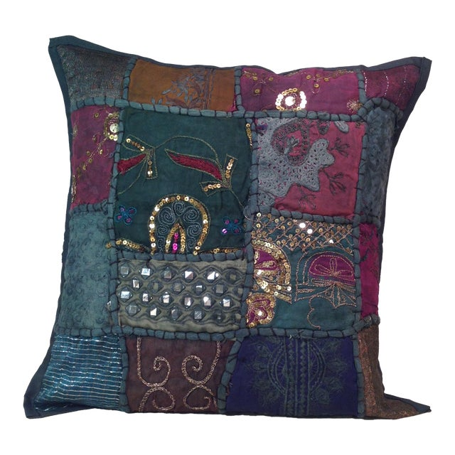 Boho Tribal Block Print Textile Artistic Pillow - Image 1 of 5