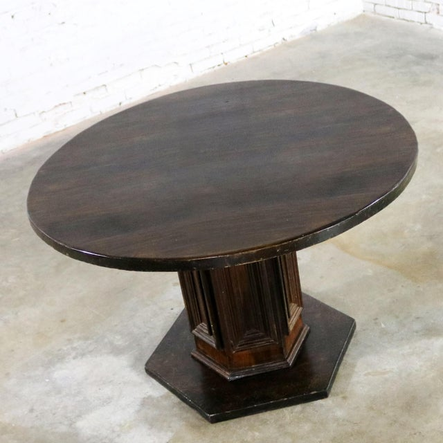 Wood Spanish Colonial Revival Style Round Dining Table With Single Pedestal Style of Artes De Mexico Three Available For Sale - Image 7 of 13
