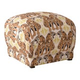 Image of Square Ottoman in Chan Tiger Blush Oga For Sale