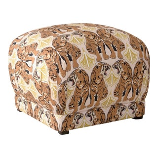 Square Ottoman in Chan Tiger Blush Oga
