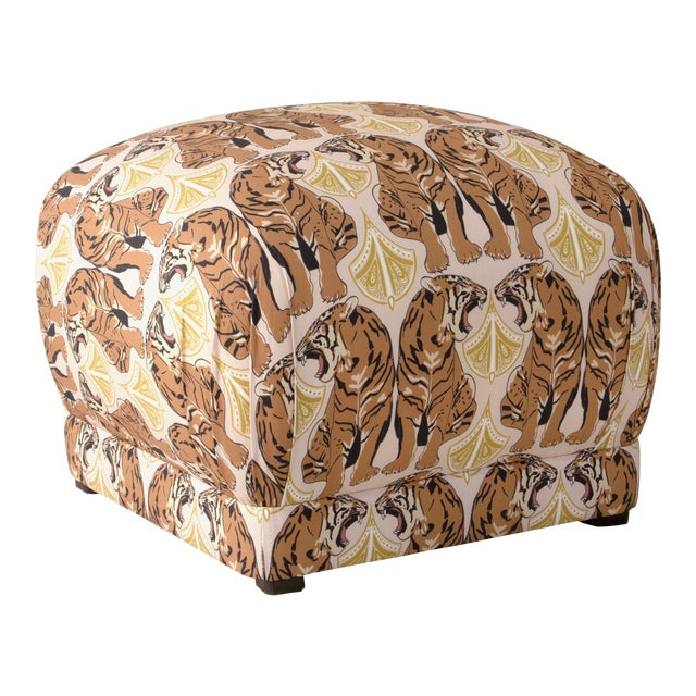 Square Ottoman in Chan Tiger Blush Oga For Sale