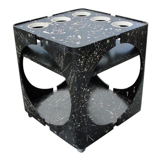 Abstract Geometric Rolling Bar Cart/Table - Image 1 of 9