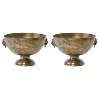 Pair of Large 1920s Silver Plate Bowls With Lion Heads For Sale