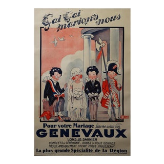1920s Vintage French Art Deco Poster - Genevaux Wedding Attire For Sale