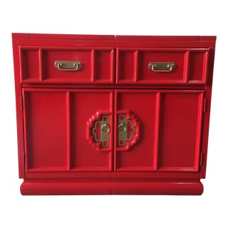 Stanely Red Lacquered Bar Cabinet