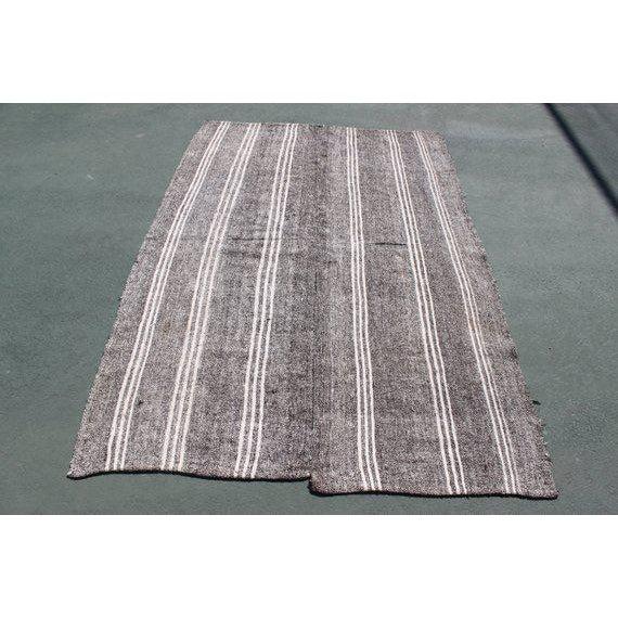 1960s 1960s Vintage Turkish Striped Kilim Rug - 4′9″ × 7′4″ For Sale - Image 5 of 5