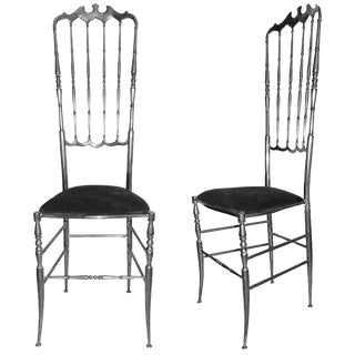 Vintage Eight Nickel-Plated Chiavari Chairs For Sale