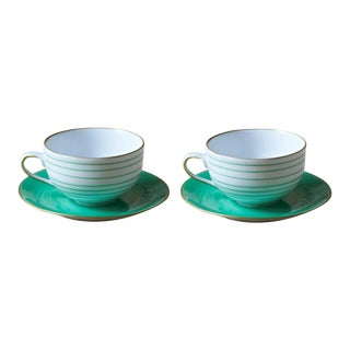 Rita Stripes Hand Painted Porcelain Teacup in Mint Green - 4 Pieces For Sale