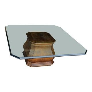 Vintage Henredon Burled Walnut Pedestal Coffee Table For Sale