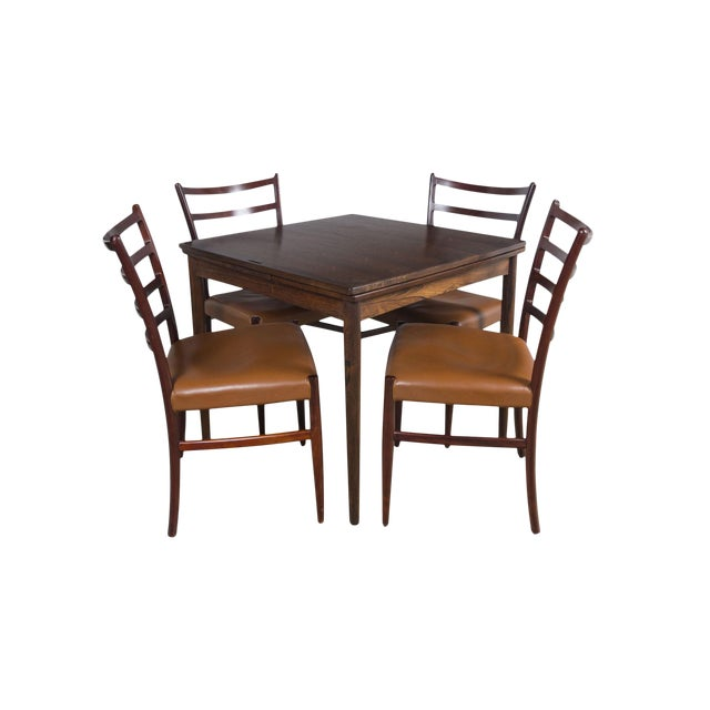 Rosewood Game Table & 4 Chairs For Sale - Image 13 of 13