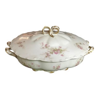 Antique Haviland Limoges Vegetable Serving Bowl With Lid/ Reduced For Sale