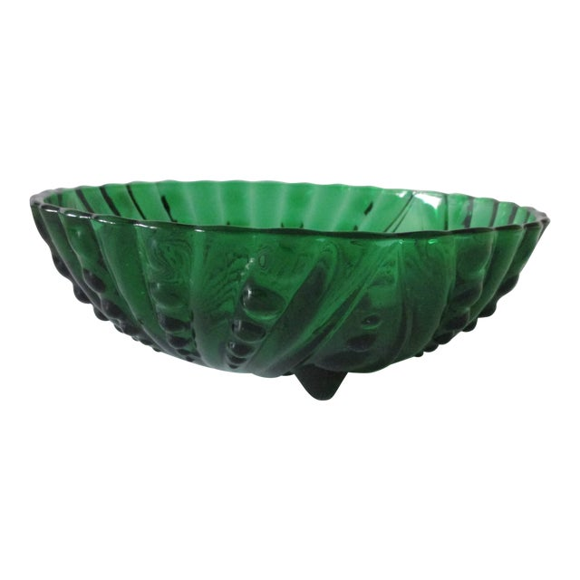 Vintage Emerald Green Round Decorative Bowl For Sale
