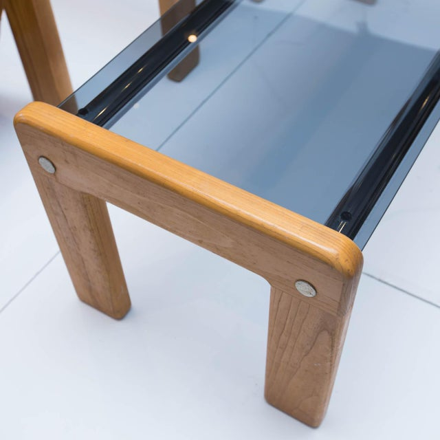 Vintage Smoked Glass/Chrome Coffee Table, Side Table With