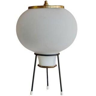 1950s Italian Gilardi & Barzaghi Glass Tripod Table Lamp For Sale