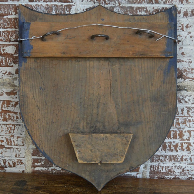 French Vintage French Painted Family Shield For Sale - Image 3 of 13