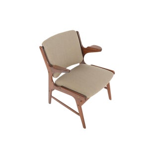 Danish Modern Teak + Wool Armchair For Sale
