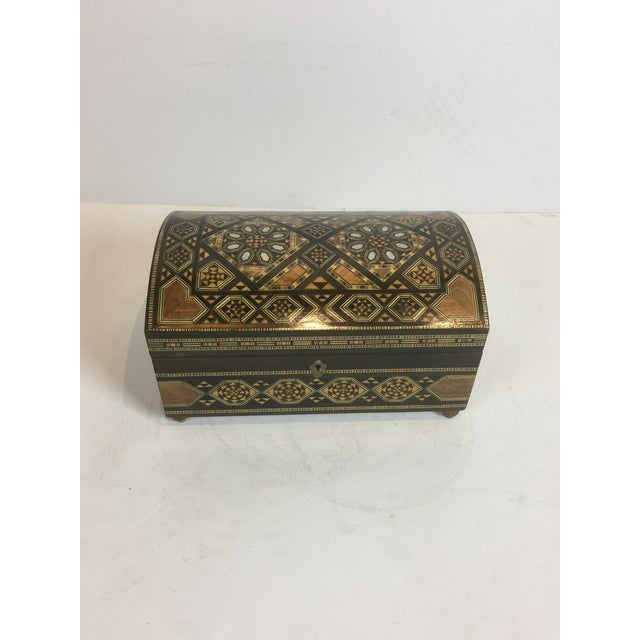Handcrafted Inlaid Wood Moorish Jewelry Box For Sale - Image 4 of 13