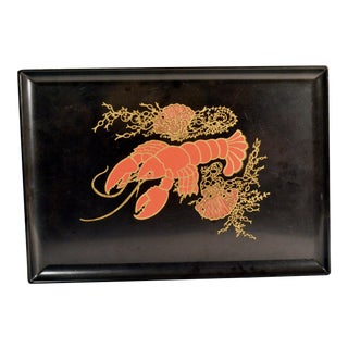 Mid-Century Modern Couroc Tray With Lobster, Seaweed and Seashells For Sale