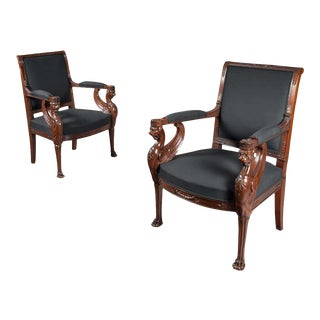 Empire Period Mahogany Fauteuil Armchairs- A Pair For Sale
