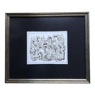Original Vintage Wayne Cunningham Abstract Cityscape Ink Drawing Framed For Sale