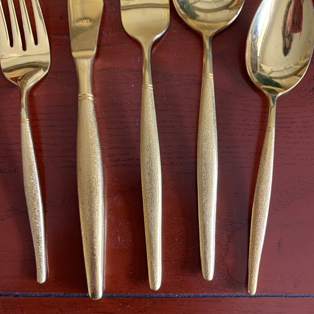 Midcentury Japan, Gold Stainless Flatware Set of 100 For Sale - Image 4 of 13