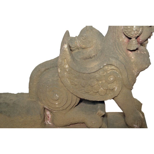 Mid 19th Century 19th Century Hand-Carved Stone Sphinx With Tiara and Earrings Sculpture For Sale - Image 5 of 13