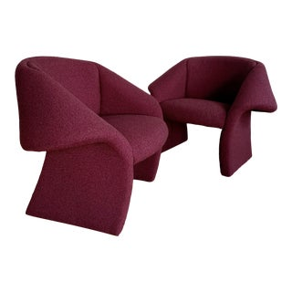 1990s Postmodern Sculptural Accent Chair in Burgundy Bouclé For Sale