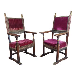 Spanish Revival Renaissance Antique Red Velvet Upholstered High Back Chairs -A Pair For Sale