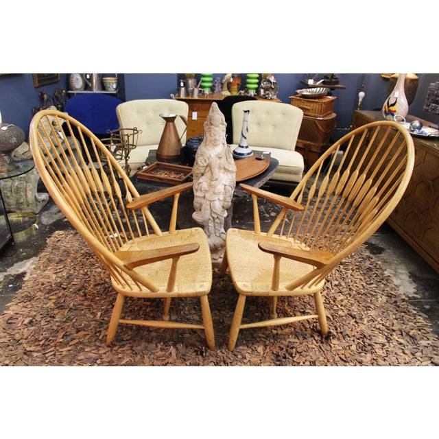 1960s Pair of Hans Wegner Peacock Chairs Produced by Johannes Hansen For Sale - Image 5 of 6