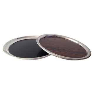 Vintage Silverplate & Wood Laminate Trays - A Pair For Sale