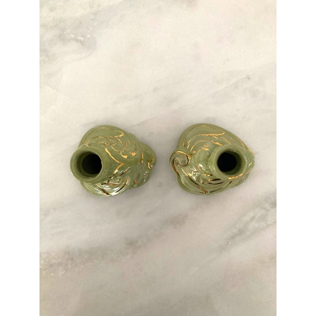 Green Vintage 1960s Holland Mold Green and Gold Flower Candle Holders - a Pair For Sale - Image 8 of 11