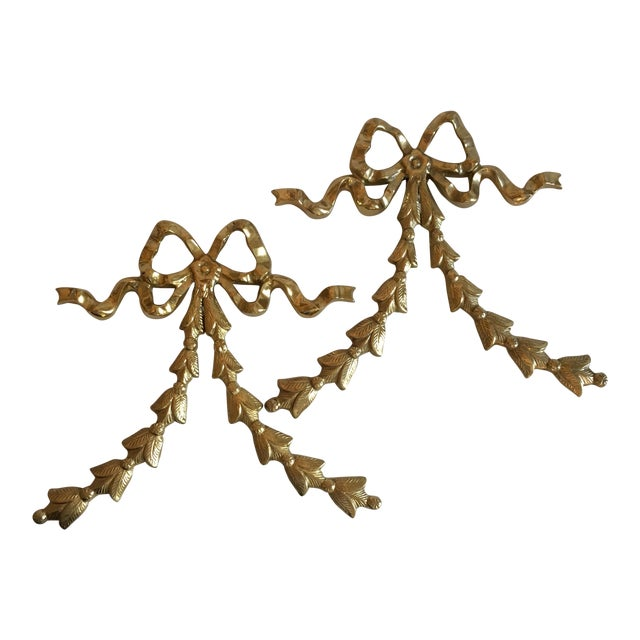 Brass Ribbon Wall Hangings - A Pair - Image 1 of 9