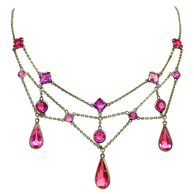 Early 1900s Gold-Filled and Pink Faceted Glass Festoon Necklace For Sale In Los Angeles - Image 6 of 6