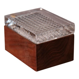Skruf Glassworks for Carl Engstrom Company Teak and Crystal Box For Sale