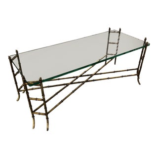 Vintage Metal Faux Bamboo Coffee Table For Sale