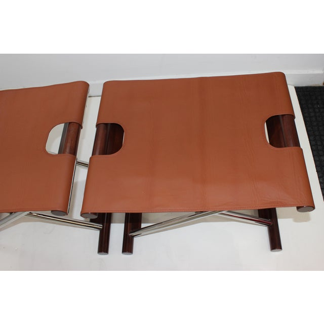 Alexander Millen Vintage Folding X-Sling Stools in Leather, Stainless Steel and Mahogany a Pair For Sale - Image 4 of 13