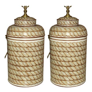 Pair of Custom Hand-Painted Tole Canister Lamps For Sale