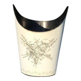 Vintage Italian Black and White Toile Wastebasker For Sale